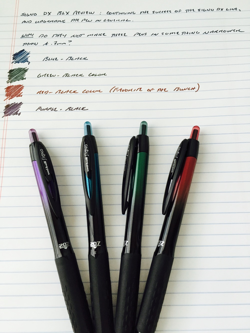 Four colors of the Signo 207 BLX range.  A co-worker stole the brown pen out of my pack.  I didn't like it anyway.
