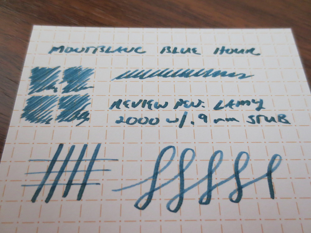 "Montblanc describes the ink as a ""Twilight Blue."" It exhibits some nice shading in a stub nib.  Here, I used my Lamy 2000 with the .9mm Minuskin Stub Nib."