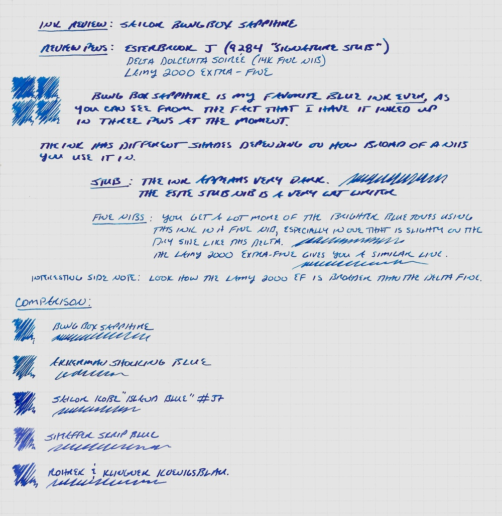 "Sailor Bung Box Sapphire writing sample on Rhodia Paper.  The ink looks darker with a very broad, wet nib.  I've also included a color comparison with several other ""bright blue"" inks.  The Sapphire color is unique and, personally, my favorite."