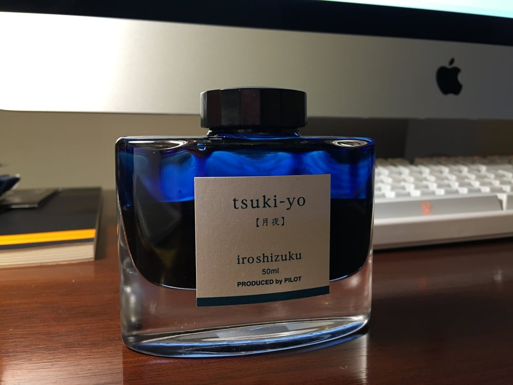 The Iroshizuku Ink bottle looks great on a desk.