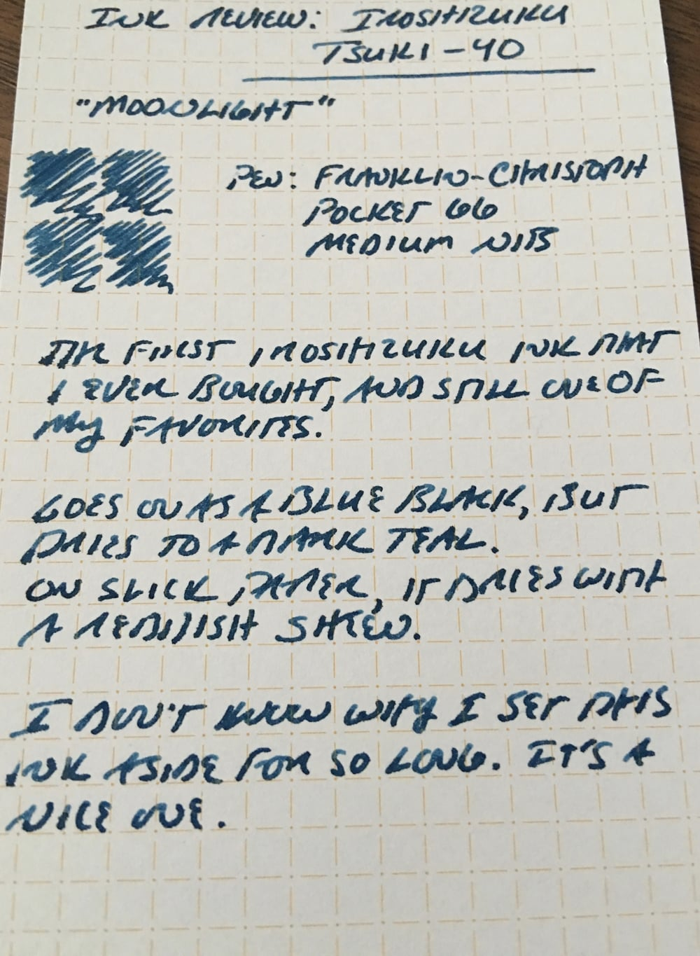 Tsuki-Yo writing sample on Nock Co. Dot-Dash Index Card.
