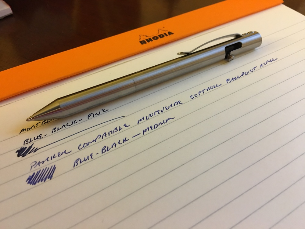Monteverde Softroll Ballpoint Refill (Parker-compatible) in my Maxmadco Bolt-Action Stainless Steel Pen.