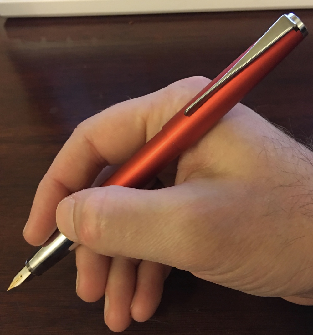 The Lamy Studio posted.  The pen has a nice size, and is well-balanced posted or unposted.