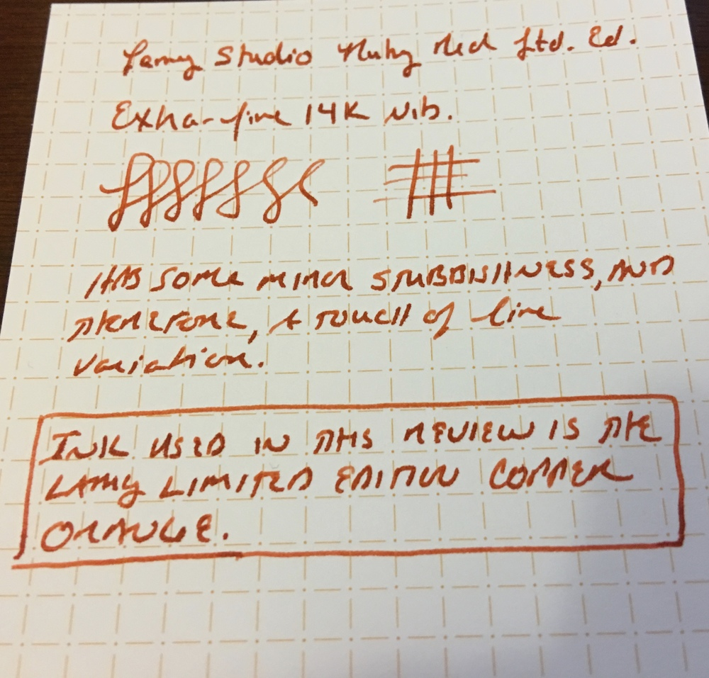 Lamy Studio Writing Sample:  14K EF nib on Nock Co. Dot-Dash Index Card.  The ink is Lamy Copper Orange.