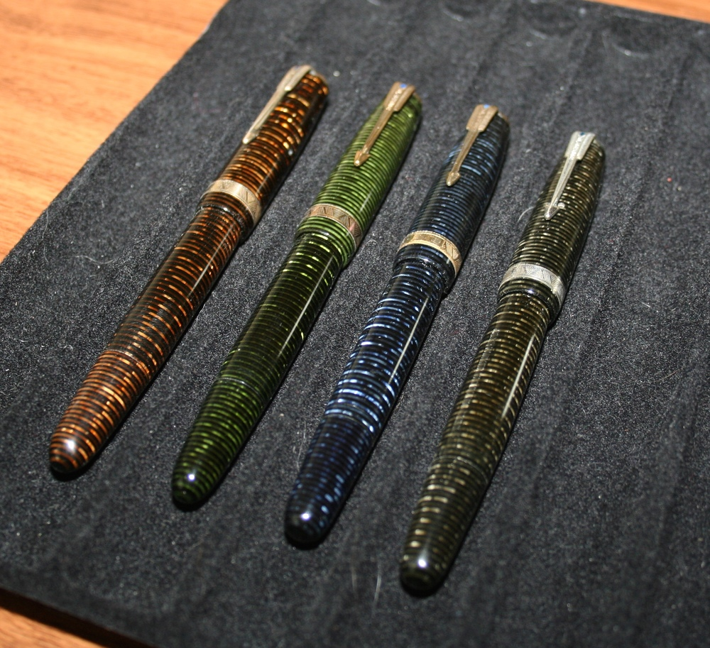 My Parker Vacumatics, all of which have been inked and are written with regularly.