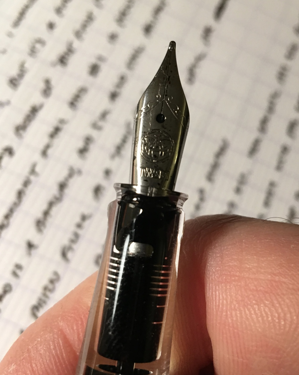 A shot of the TWSBI Eco nib and round, transparent section.  For some reason, I love the clear section on the Eco.  You can really see how the ink saturates the feed and works its way down to the nib.