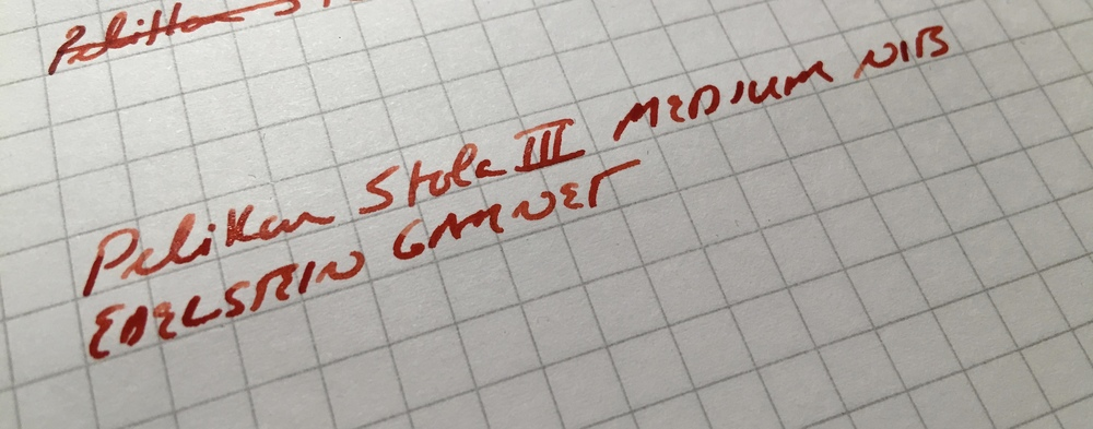 Pelikan Stola III writing sample.  The medium nib leaves a moderately wet line.  I had no skips or hard starts.
