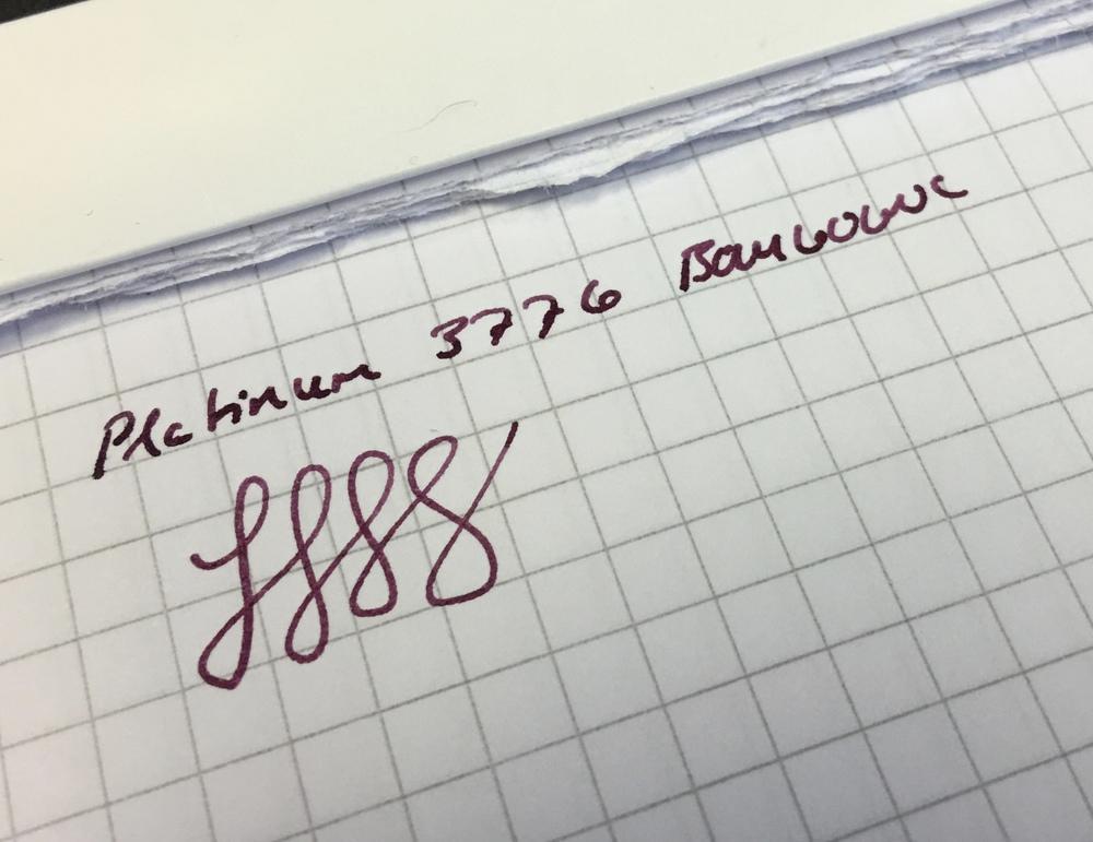 Platinum Medium Nib Writing Sample