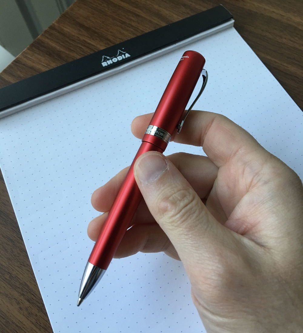 The Allrounder is a fairly large ballpoint pen.  It's a comfortable size to use for extended periods of time, which I can't say for most ballpoints.