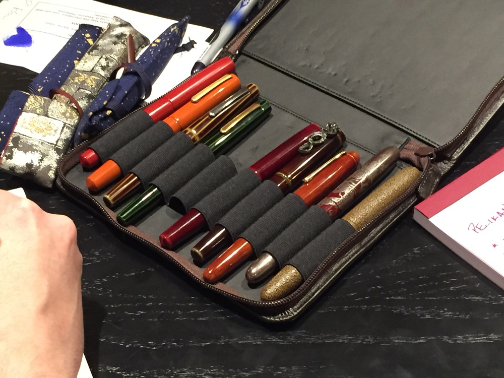 Leigh Reyes' Nakaya collection, which she brought to the 2015 Atlanta Pen Show and I hear she is bringing with her again this year!  After hours pen show meet-ups offer the opportunity to try pens you never otherwise might see.