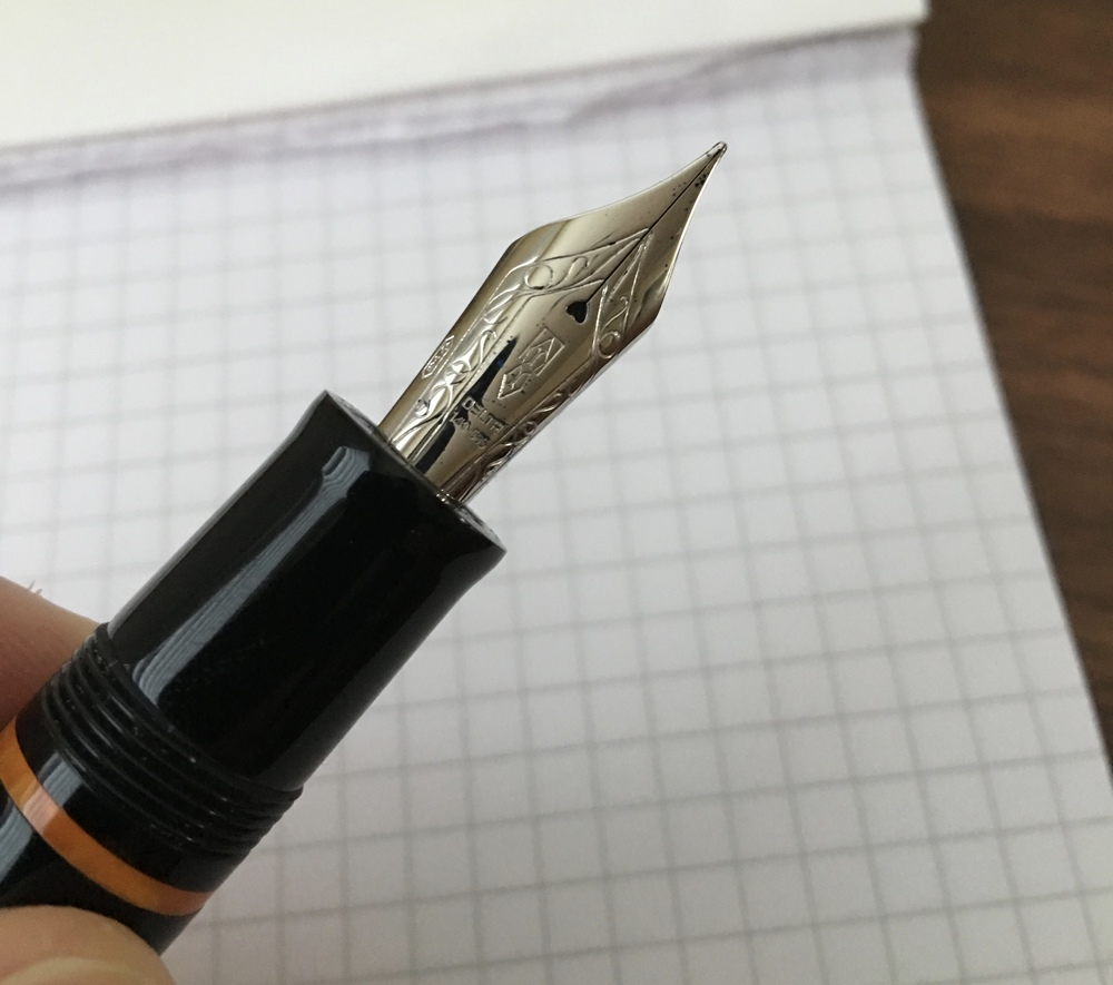 The 14K fine nib on the Delta Dolcevita Soiree Mid-size.  I believe most of Delta's nibs and feeds are made by Bock. They write exceptionally well.