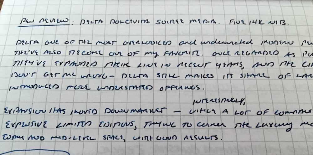 A writing sample with the Delta Dolcevita Soiree, 14k fine, Montblanc Limited Edition Tolstoy on Rhodia.