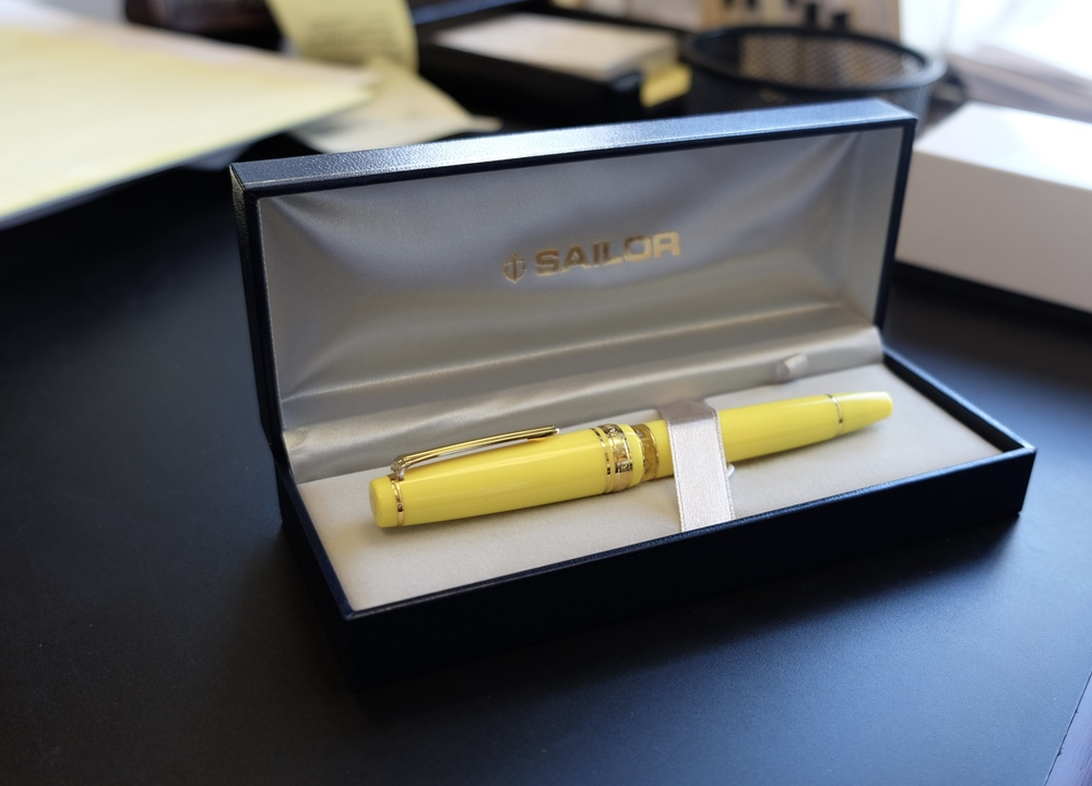 "My most recent Sailor Pro Gear acquisition, the Bung Box ""Soleil"" model (review coming soon)."