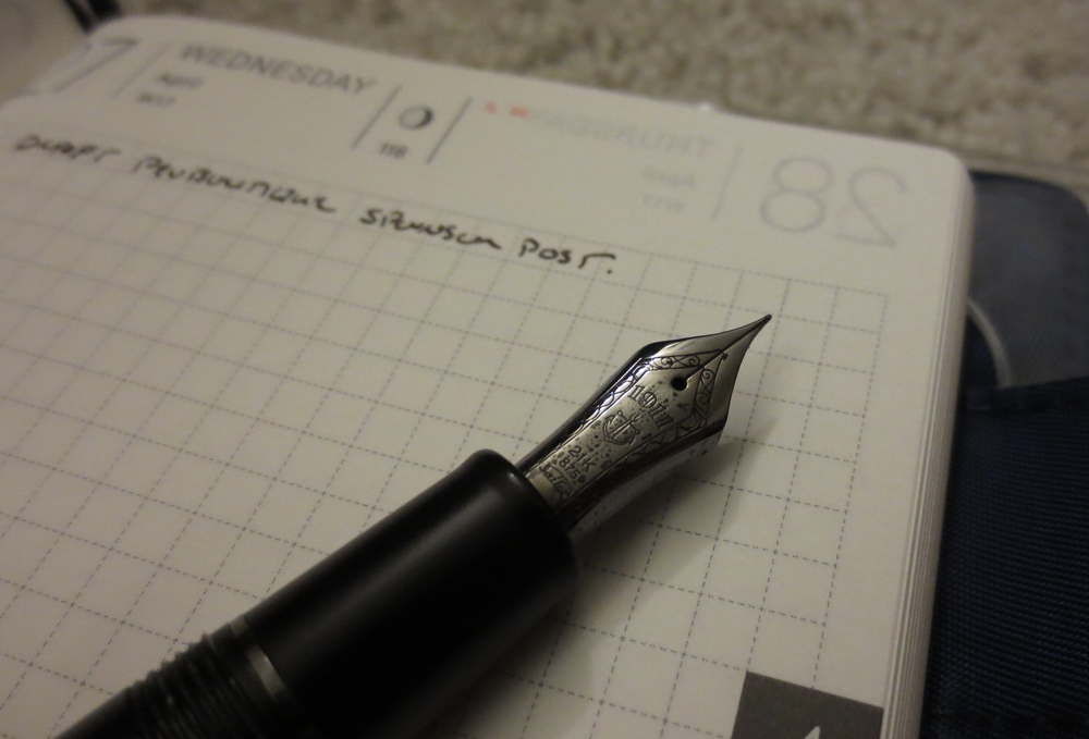 My favorite daily journaling tools:  my Hobonichi Techo and Sailor Imperial Black Fountain Pen.