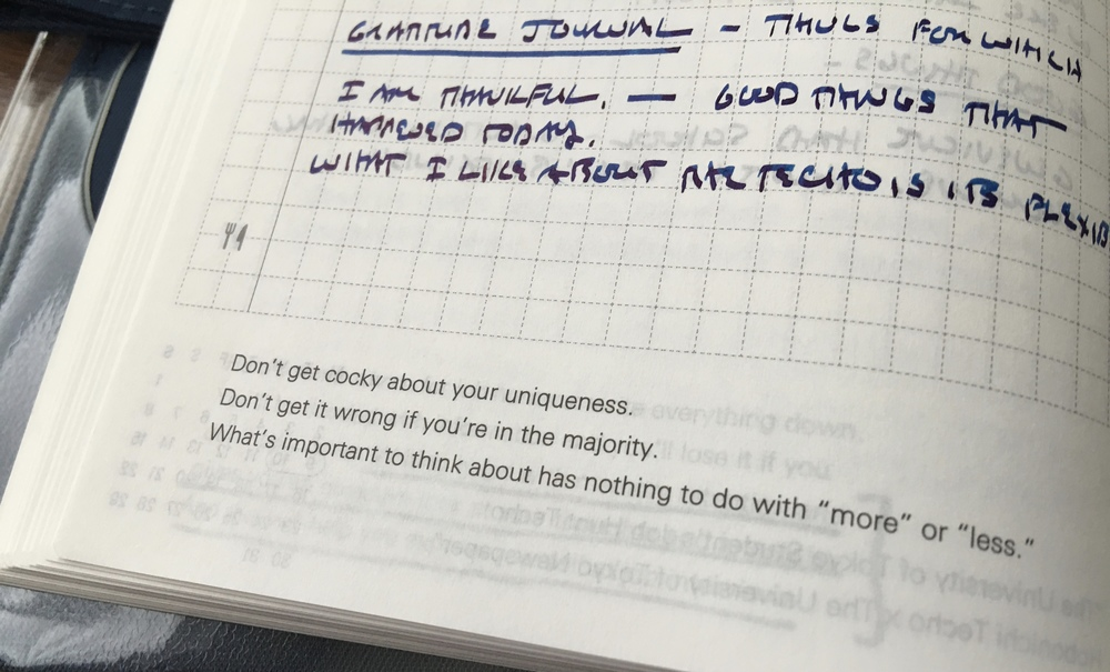 On days when you don't necessarily have something to write about, or simply need some inspiration to power through, the Hobonichi provides a daily quotation.  Some translate to English better than others.