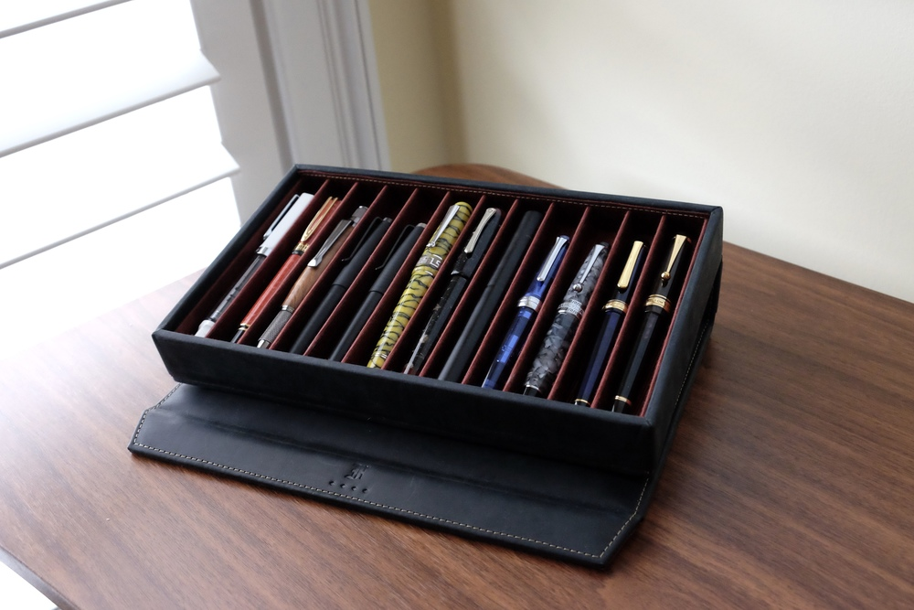 """The Franklin-Christoph Covered Pen Tray in """"Display Stand"""" Mode"""