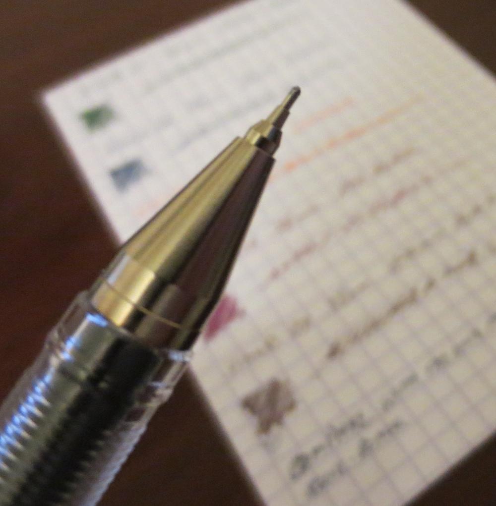 I prefer needlepoint tips, like the Pilot Hi-Tec-C.