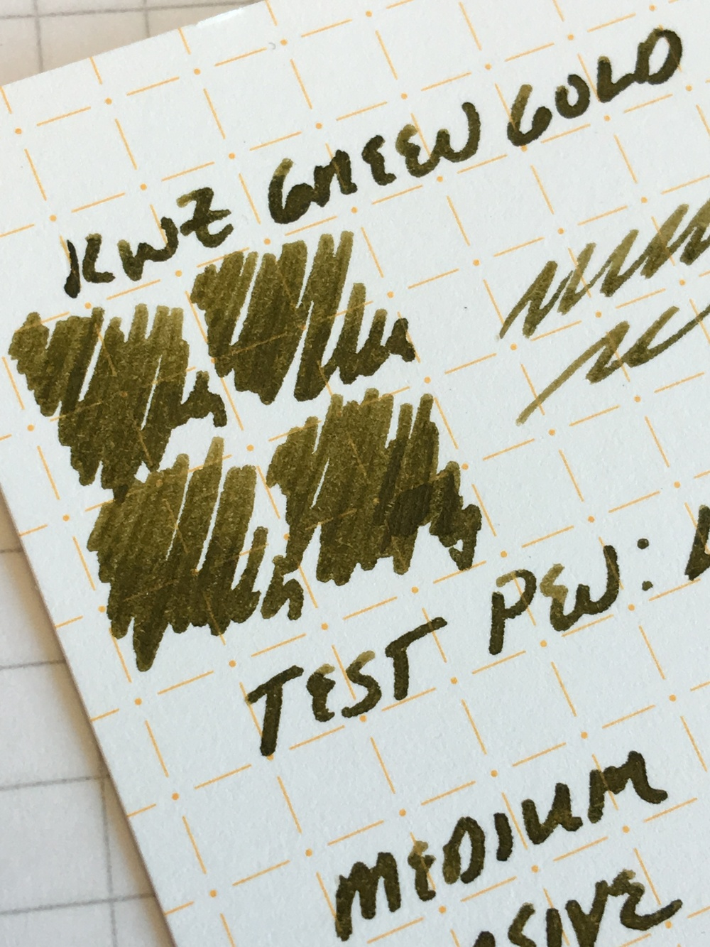 KWZ Green Gold, in a Lamy 2000 Stainless Steel medium cursive italic ground by Mark Bacas.