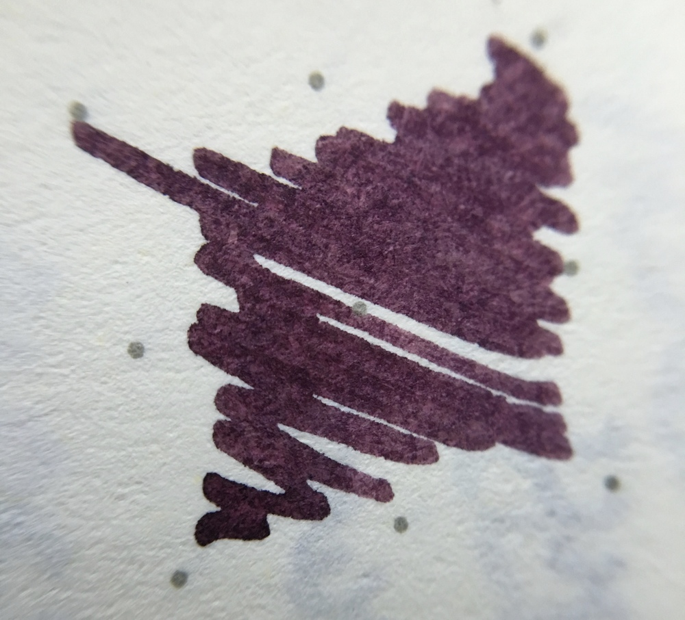 A macro shot of KWZ Brown Pink on Leuchtturm dot grid paper.