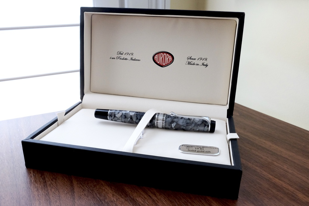 The Aurora Optima Nero Perla, in Aurora's simple, yet gorgeous, presentation box. The Italian pen companies always seem to do packaging well.