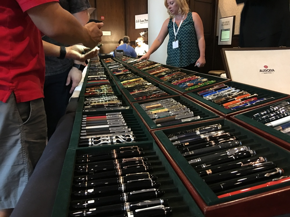The pens that Bryant Greer of Chatterly Luxuries brought to this year's DC Pen Show.