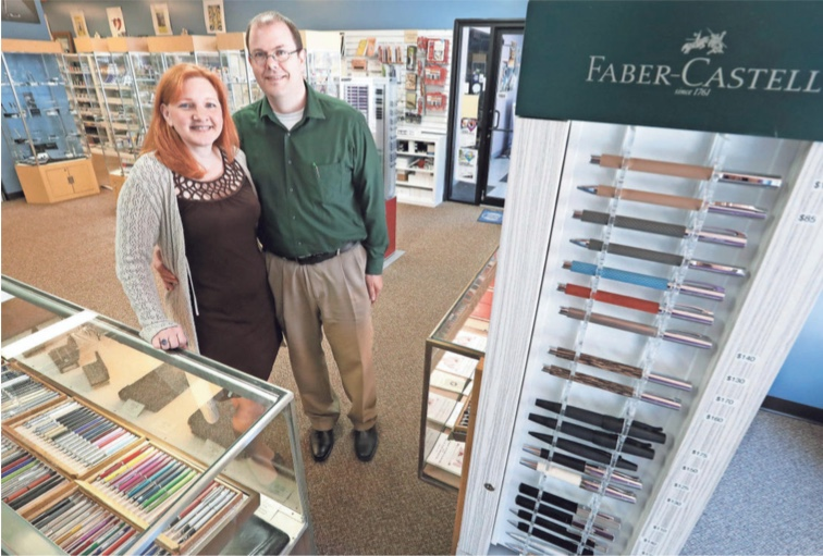 Lisa and Brian Anderson in their Appleton, Wisconsin store (photo courtesy of Anderson Pens)