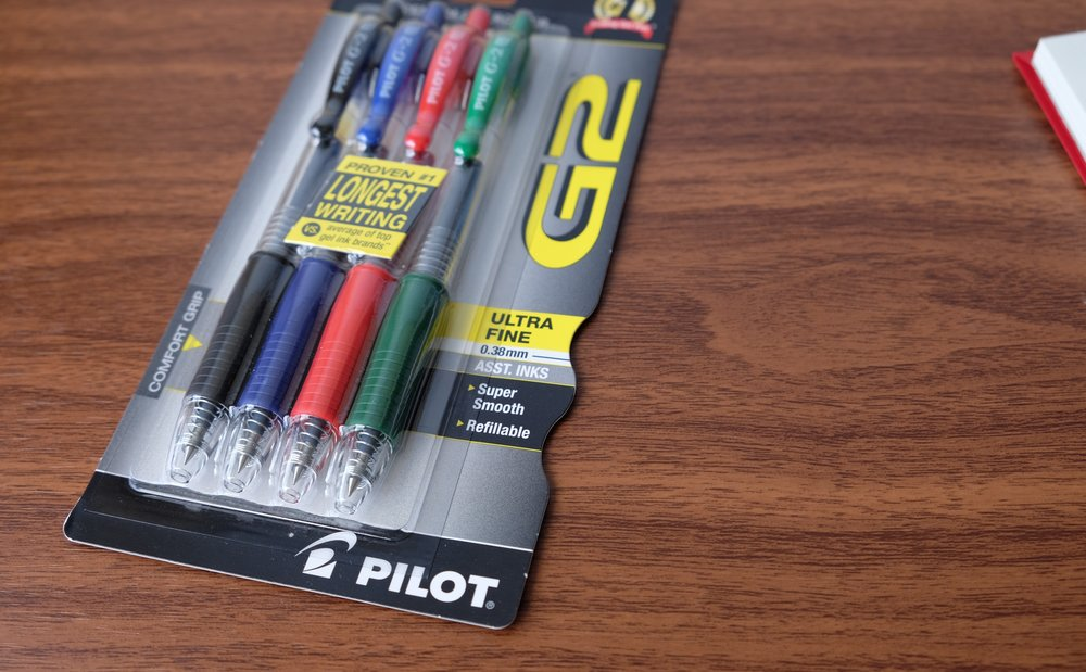 The .38mm Pilot G2 is widely available and comes in colors other than black and blue.