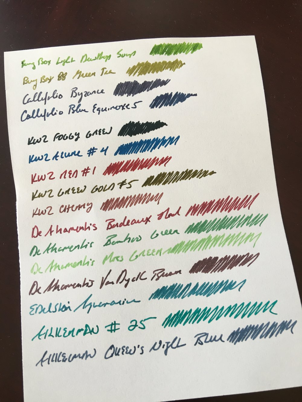 My ink sample sheet from the DC Pen Show. I was trying a lot of lighter green inks, but none of these popped like the Akkerman #28.