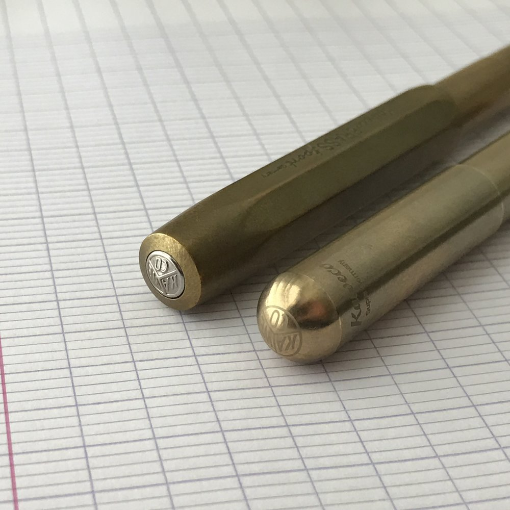 Two Kaweco pens that have pleasantly surprised me: on the left, the Kaweco Brass Sport, and on the right, the Kaweco Supra. Check out the patina forming on that brass!