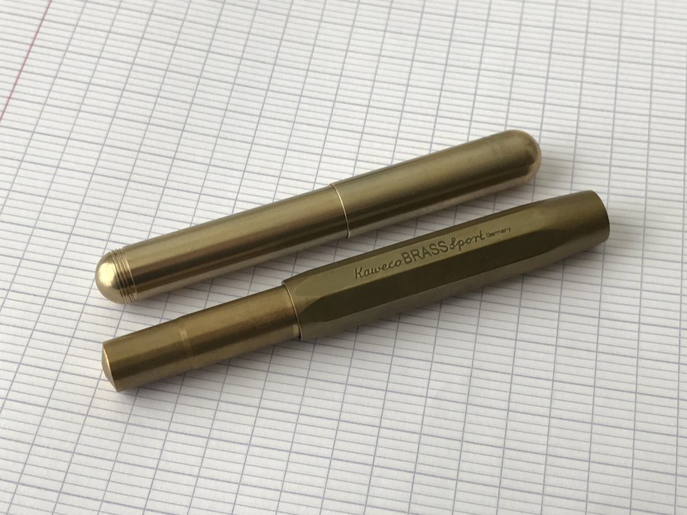"The Kaweco Supra compared side-by-side with the Kaweco Brass Sport. Here, the Supra is in it's ""pocket pen mode,"" making it more compact than the Sport."