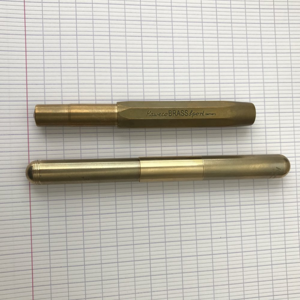 "The Kaweco Supra in it's ""extended mode"". Check out the patina that's developed on the ""used"" portion of the Supra compared against the unused extender insert."