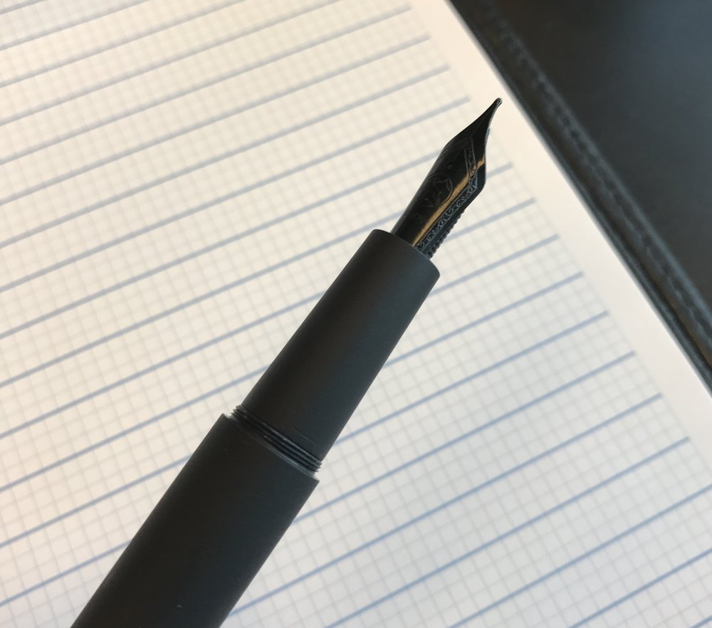 The Trilogy Zero features a smooth section and a black PVC-coated Bock Nib.