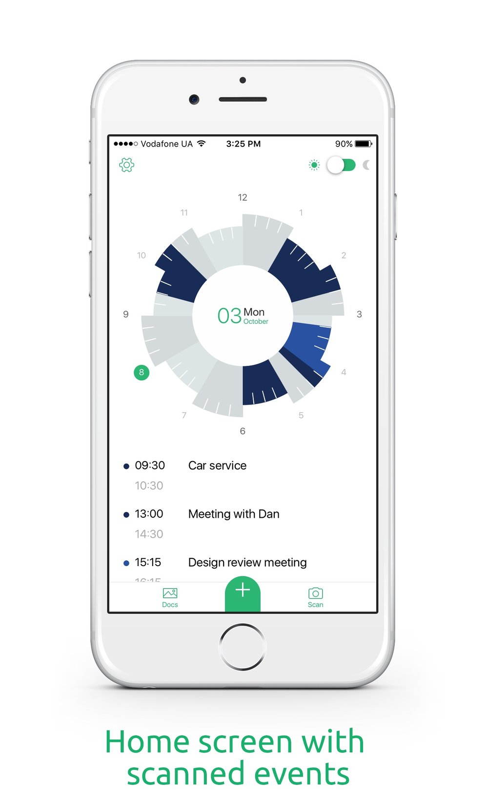 "Photo courtesy of Slice Planner. The app is designed to scan ""events"" from your diagram and import them into both the Slice Planner app and your calendar. The Slice Planner app will also import existing calendar appointments into the clockface diagram."