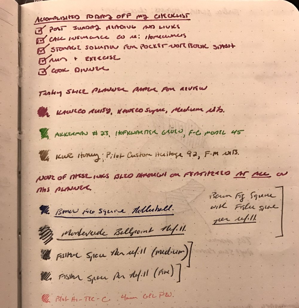 Testing various inks in my Slice Planner. You can see some show through from the following day, but no actual bleed.