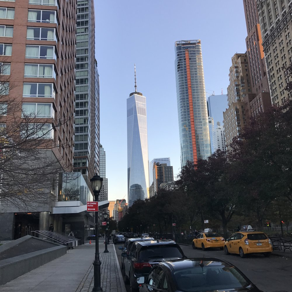 A view of the Freedom Tower from outside my hotel in Battery Park City