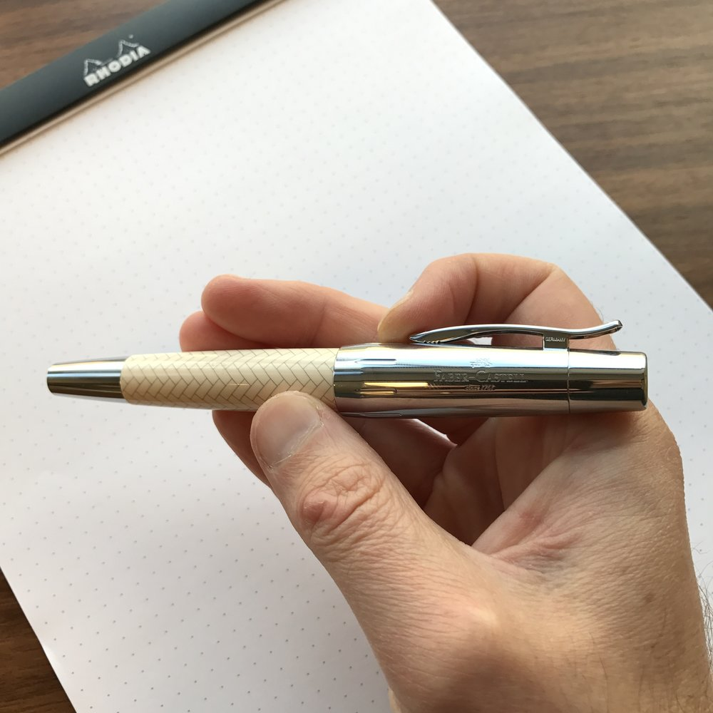 The Faber-Castell e-motion is not a small pen, but the tapered design makes it feel relatively compact and comfortable to use.