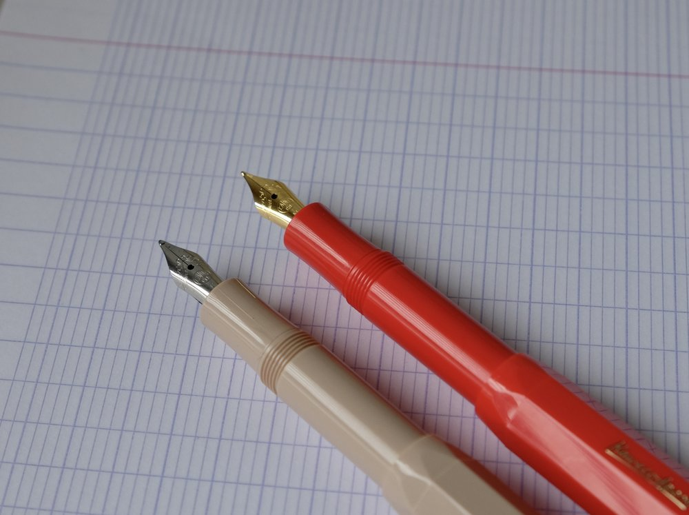The Kaweco Classic Sports in Macchiato and Red (which has a bit of an orange tint to it, though perhaps not quite as pronounced as in these pictures).