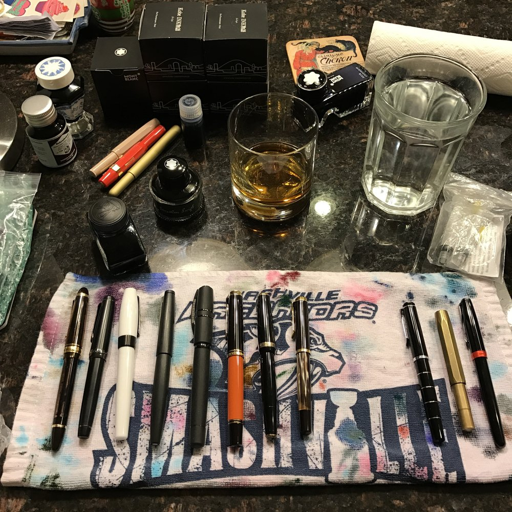 Since I couldn't make it to the Philly Pen Show this weekend, I had my own personal pen night of cleaning and re-inking (adult beverage included).