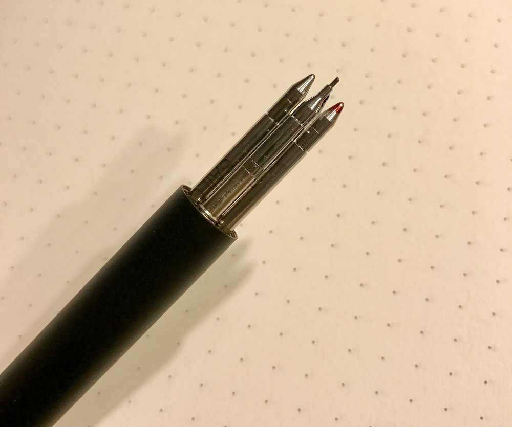 The Imperial Black multi pen uses widely available D1 refills. The stock Sailor refill is excellent, though a bit hard to find.