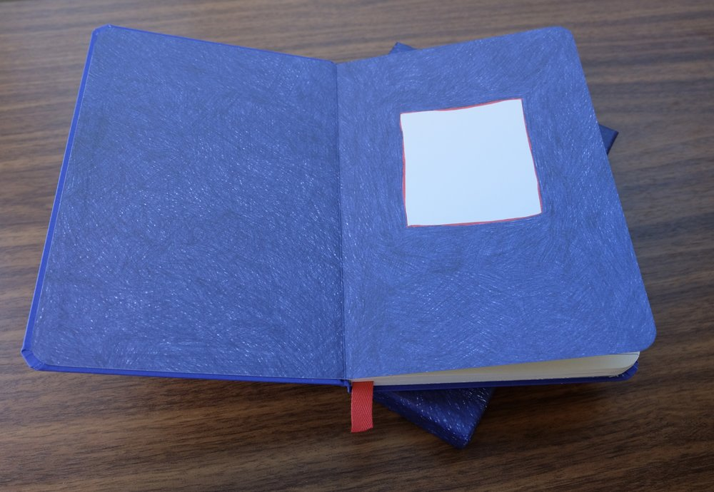 Even the inside cover is hand-colored, with blue ballpoint.