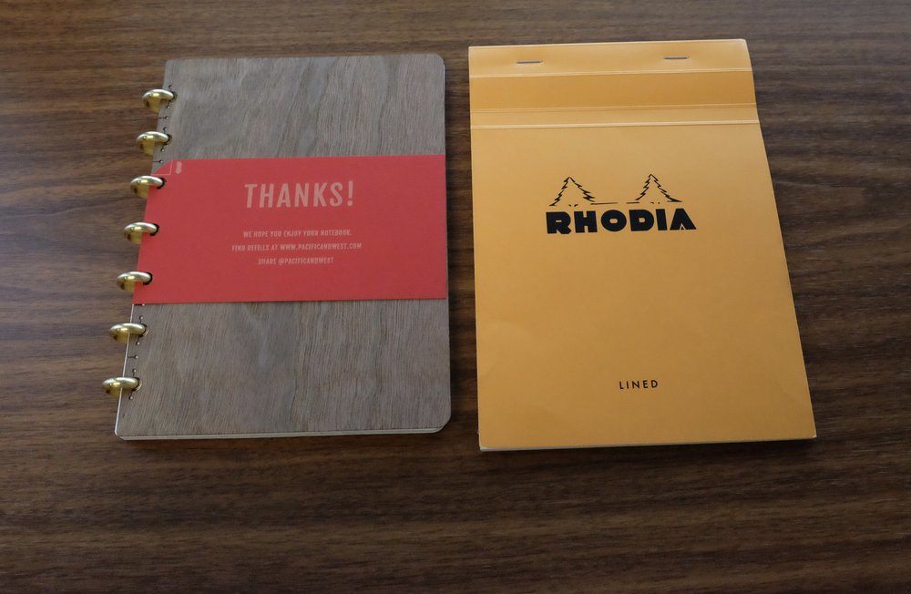 "As you can see, the paper on the  Rhodia No. 16 pad  is slightly smaller than the ""Large"" Pacific & West Notebook."