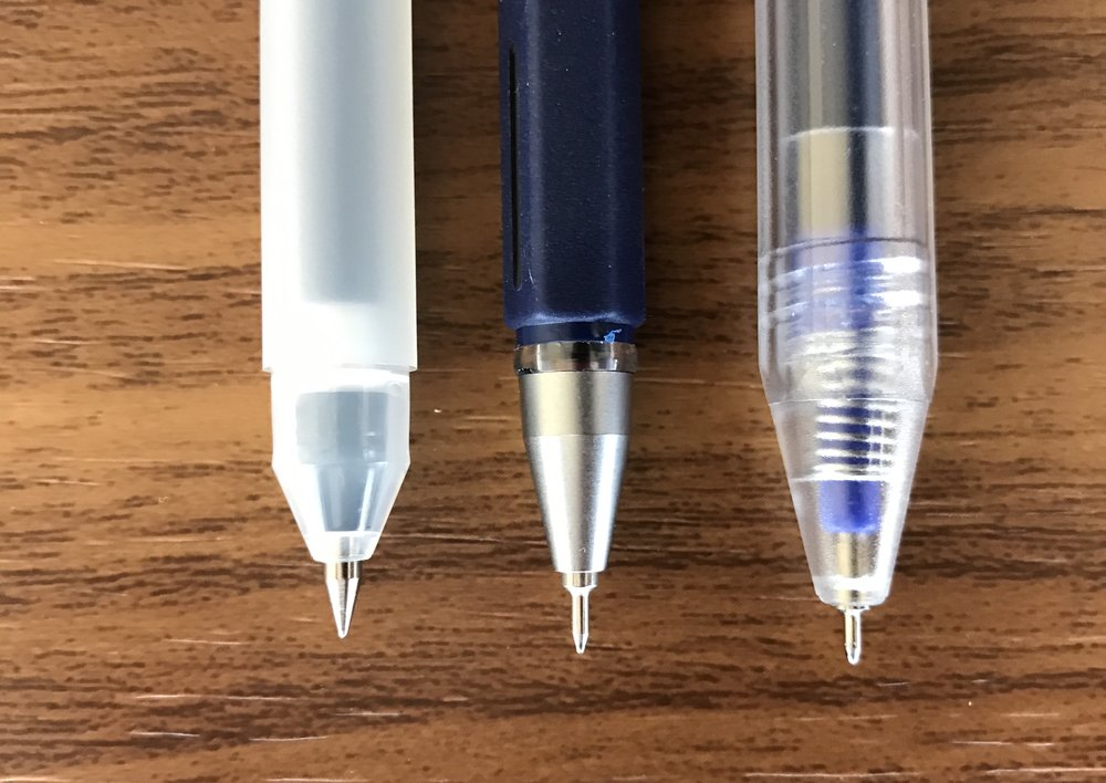 From left: Muji conical-tip stick pen; Muji needle-tip stick pen; Muji needle-tip click pen.