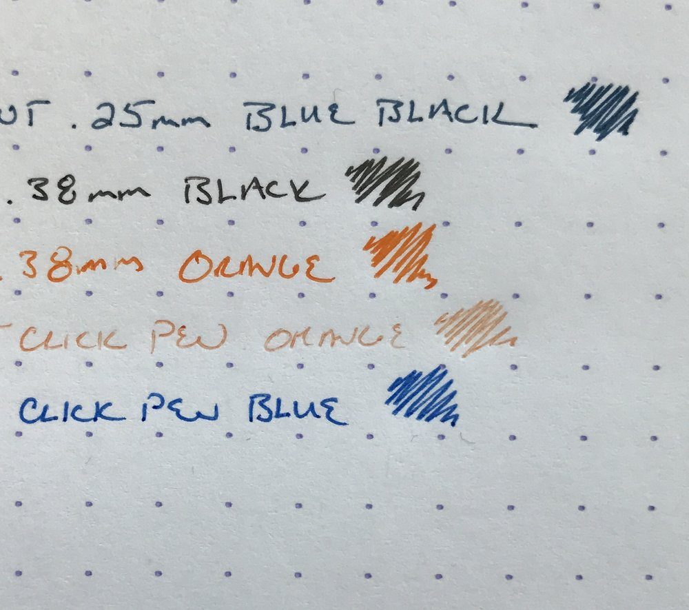 Maybe I just got a couple duds with the click pens, but it's enough to make me not try them again. (Note that the orange is dried out and skippy. The blue looks fine in the picture, but it tends to blob ink.)