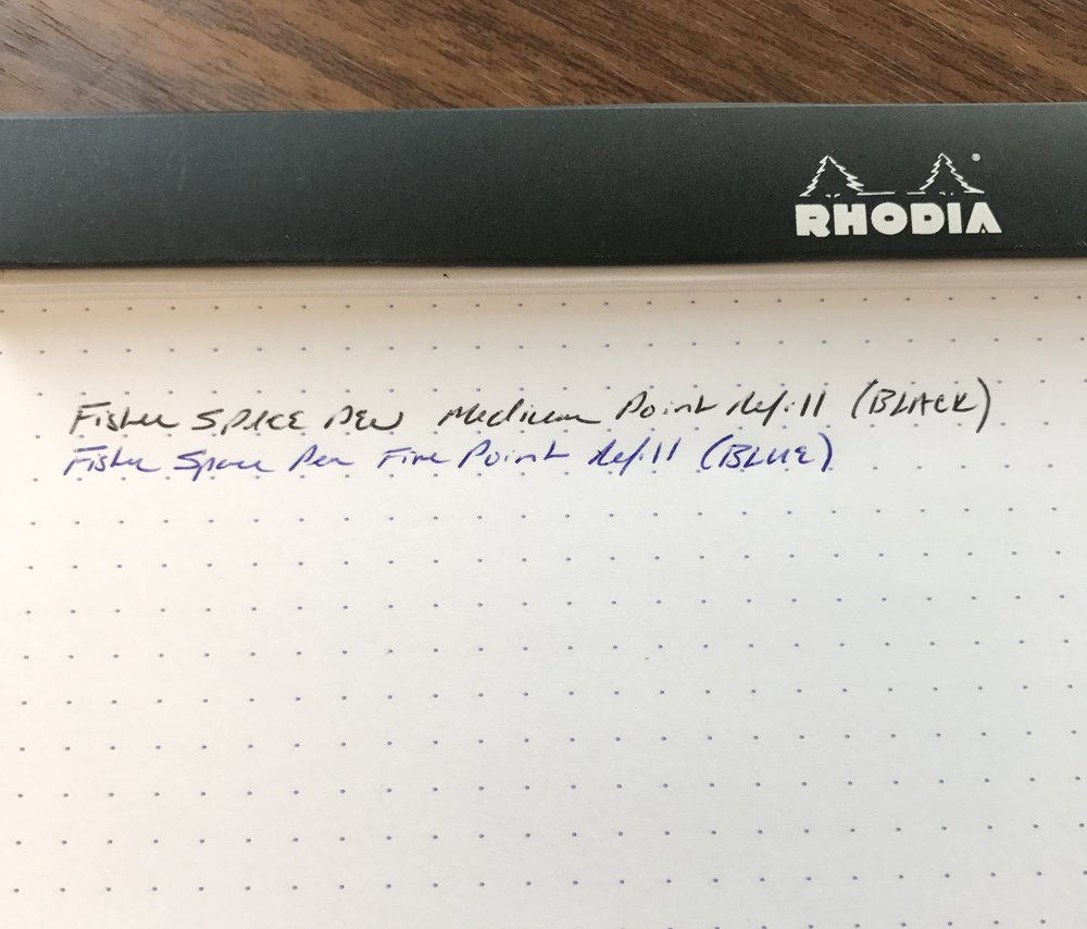 A Fisher Space Pen writing sample. While there's not a huge difference, I prefer the fine.