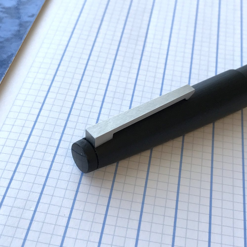 A shot of the cap on a Makrolon Lamy 2000. Note the matte finish on the body and clip, compared with the polished end cap.
