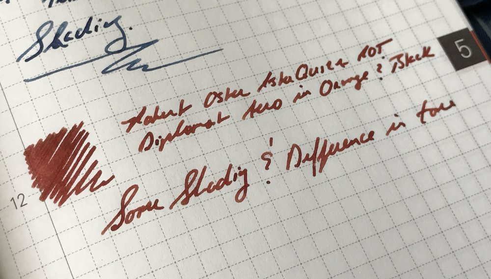 Astorquiza Rot is a gorgeous red ink, just not what I expected, and not a color I currently need in my collection. I didn't find quite as much shading as with the Midnight Sapphire.