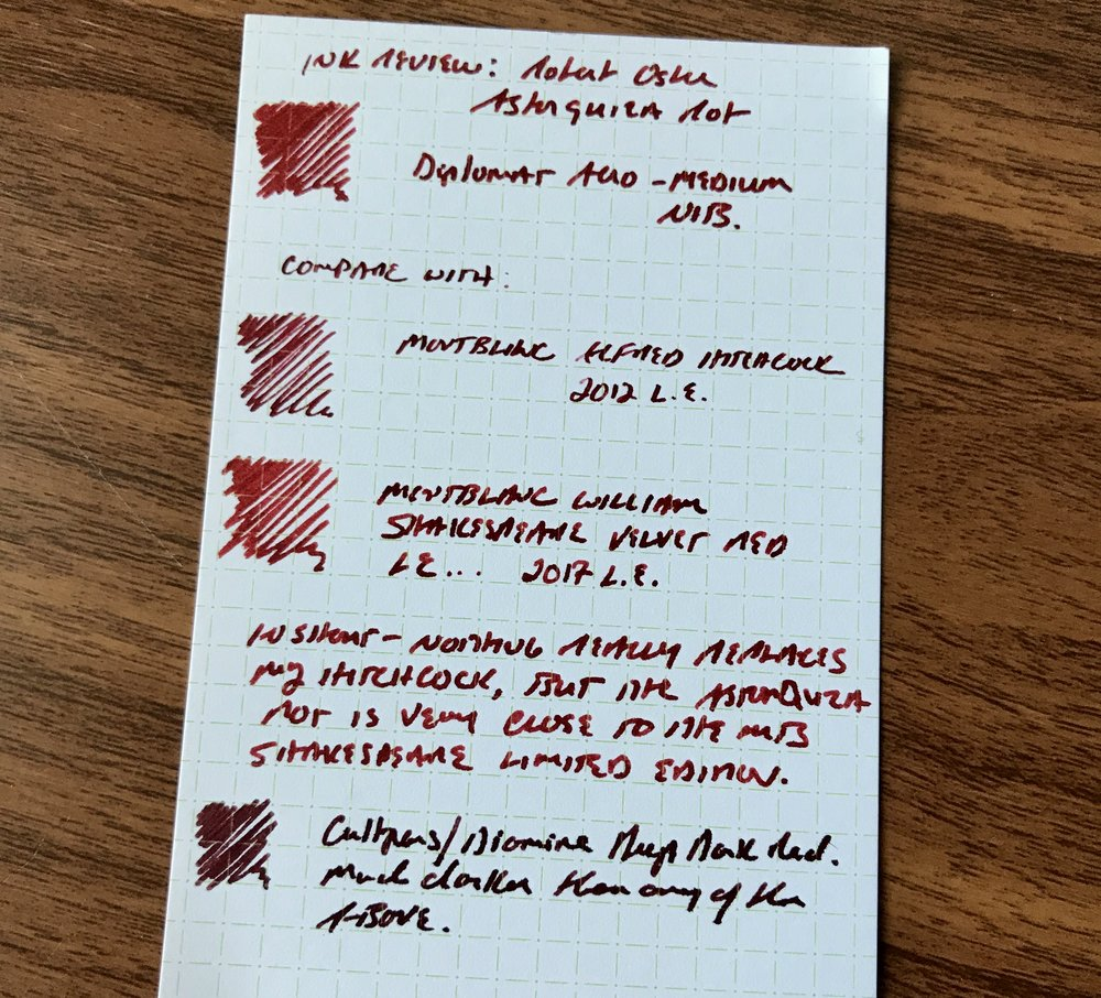 Robert Oster Astorquiza Rot (top) compared against three other red inks: Montblanc Alfred Hitchcock 2012 L.E., William Shakespeare Velvet Red (current L.E.), and the Diamine/Cult Pens collaboration Deep Dark Red.