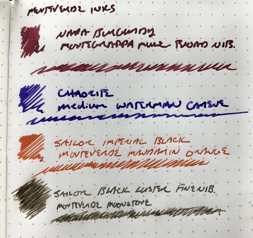 While the Moonstone is more muted, the Burgundy, Chaorite, and Mandarin Orange are vibrant, and definitely stand out on the page.