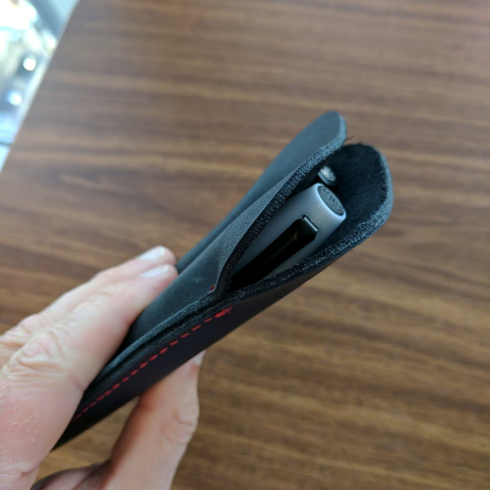 You can see the unfinished edges and interior of this pen case, which I guess is appropriate for the rugged style as well as the price point.