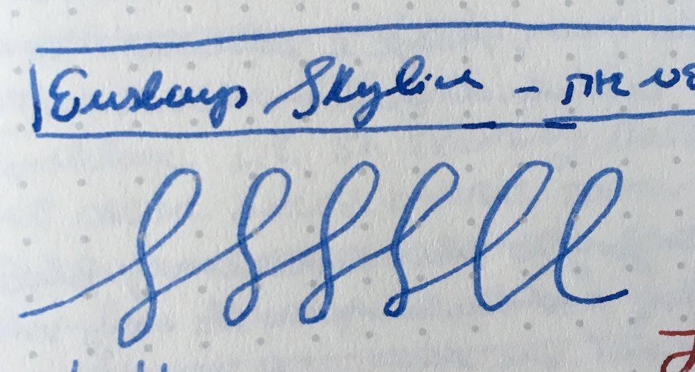 Not the best writing sample, but this will give you some idea of the bounciness of the nib. The nib is NOT a dry writer - this particular ink looked a bit washed-out when it dried.